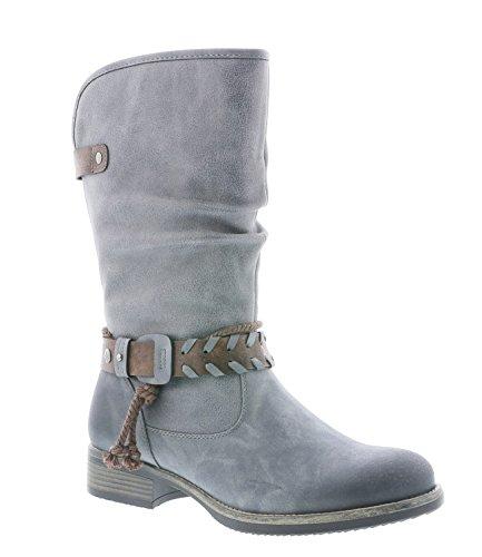 Rieker Damen Klassische Stiefel 98861,Frauen Boots,Schlüpf-Stiefel,Slip-On-Boot,Blockabsatz...