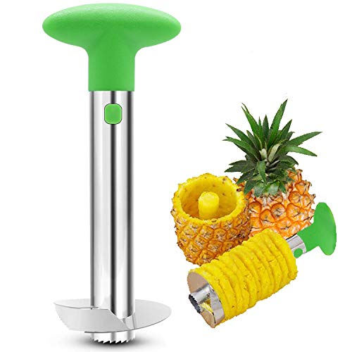 Stainless Steel Pineapple Core Remover Tool for Home & Kitchen with Sharp Blade for Diced Fruit Rings All In One Pineapple Tool Peeler Slicer Cut Pineapple Quick and Easy Without A Knife (Green)