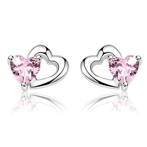 QY-Youth 925 Sterling Silver Doble Heart Heart to Heart Pink CZ Stud Pendientes para Mujeres joyería Fina,Plata