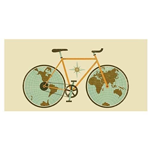 Abstrakte Weltkarte Auf Fahrradfelgen Poster Und Drucke Wandkunst Leinwand Malerei, dekorative Bilder Für Wohnzimmer Wohnkultur/Ungerahmt / 60X120 Cm