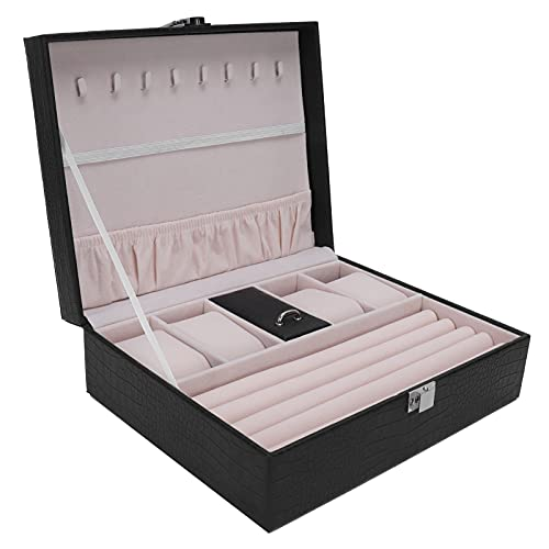 HERCHR Organizador de joyero, joyero para Collar, Pendientes, Anillos, Pulseras, Caja de Almacenamiento de Reloj, 23,8 x 18,8 x 7,9 cm
