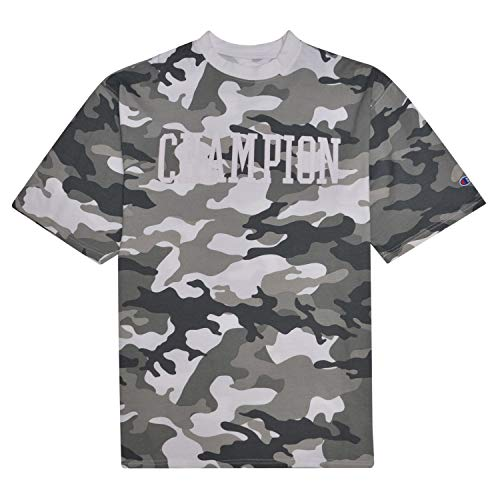Champion Camo T Shirt for Men Big and Tall Short Sleeve Tee with High Density 3D Collegiate Logo White/Grey Camo 3X