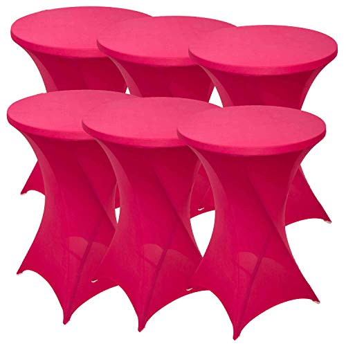 FDBW Set of 6 High Table Covers | Stretch Cover Table Cover Tablecloth | Diameter 80-85 x 110 cm Cover for Bar Tables Bistro Table Beer Table Catering | Suitable for Horeca Event Wedding | Pink