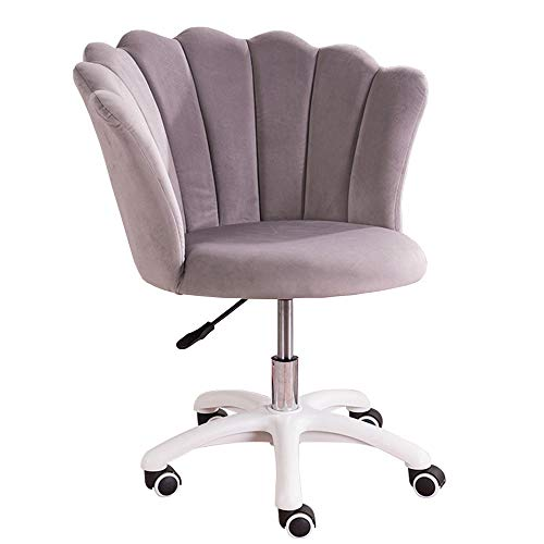 Velvet Home Office Stuhl mit Armlehnen und gepolstertem Kissen, Höhenverstellbar, ergonomischer Schreibtischstuhl, 360° Drehstuhl für Arbeitszimmer Wohnzimmer -Bean_Paste