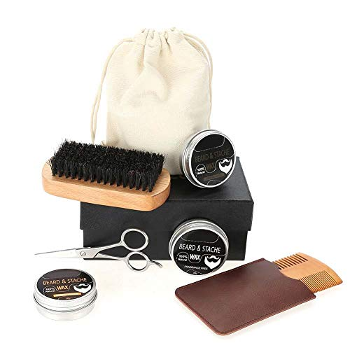 Baardverzorgingsset voor mannen, baardgroei en trimkit met baardbalsem, baardborstel, baardkam, scherpe schaar, tasje, stoffen tas, beste
