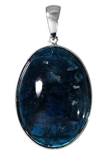新宿銀の蔵 アパタイト シルバー 925 ペンダントトップ オーバル型 天然石 パワーストーン 青 シンプル 燐灰石 ヘッド トップ