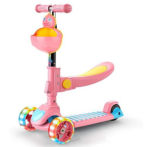 SJYDQ Niños kick scooter w / 3 Cubierta de ruedas, manillar Puños, Sit-o-plataforma del asiento plegable desmontable, el resto del pie, freno incorporado y cesta Bonificación por 2-8 año viejo niño de