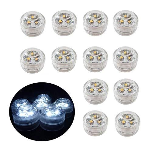 12x Teelichter LED Flammenlose, batteriebetriebene wasserdichte dekorative Beleuchtung für Aquarium/Teich/Schwimmbad/Hochzeit/Party (Kaltes Weiß)