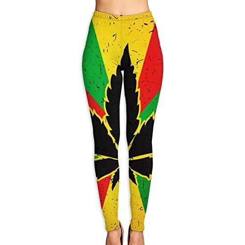 Vizor Women's Printed Leggings Cannabis Leaf Flag Pattern Ultra Soft Ankle Length Elastic Tights