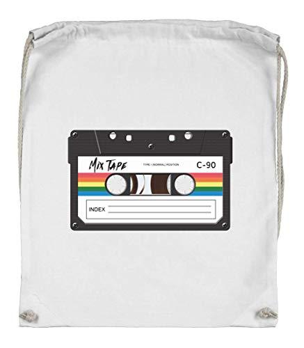 Druckerlebnis24 Turnbeutel - Kassette Vintage Musik Tonkassette - Stoffbeutel aus Bio Baumwolle