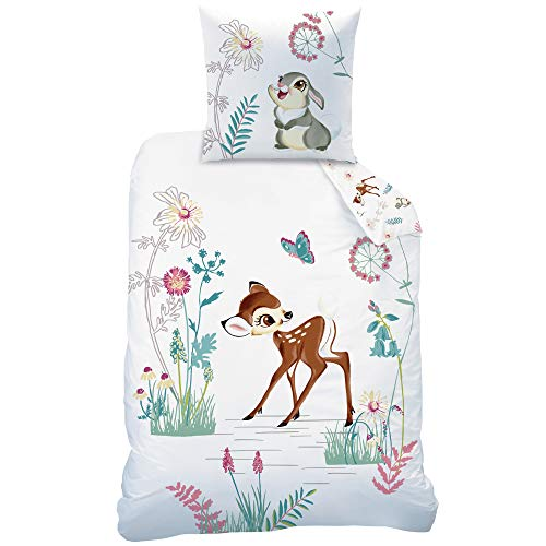 Juego de ropa de cama infantil de Disney con diseño de Bambi · Ropa de cama para niña · Bambi y Tambor · 1 funda de almohada 80 x 80 + 1 funda nórdica 135 x 200 cm – 100% algodón