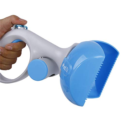 BDFA Chien Pooper Scooper, Portable Petit Chien Caca Scoop avec Distributeur de Sac de déchets,Blue