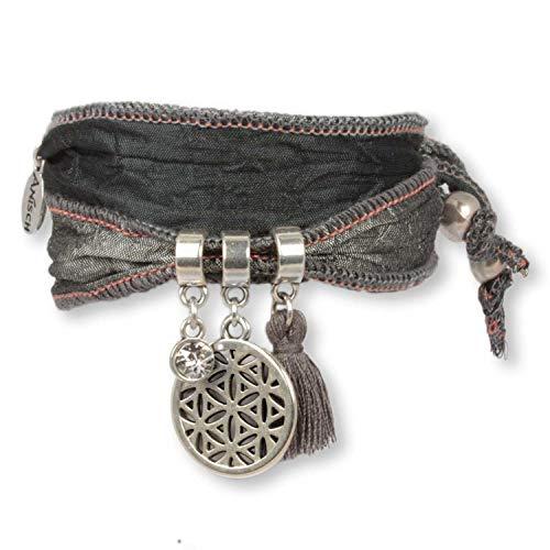 Anisch de la Cara – Damesarmband Silver Grey Flower of Life – Symboolarmband bestaande uit Indiase saris – artnr. 90911-c