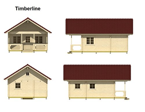 """Allwood timberline   483 sqf cabin kit 6 inside floor area: 354 sqf + loft 129 sqf wall thickness: 2-3/4"""" (70 mm) - dual t&g pattern   ridge height: 14'9"""" snow load capacity 46 lbs/sqf - for 70 lbs/sqf and 96 lbs/sqf values see asin:b07ty5msy8"""