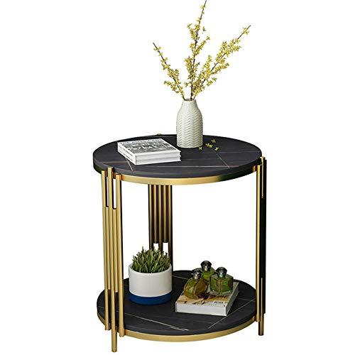 Mesa auxiliar moderna redonda con marco de metal dorado, mesa de café impermeable con tapa de mármol, mesa auxiliar para uso en el hogar/oficina, ø40 cm x 55 cm - ø40 cm x 55 cm