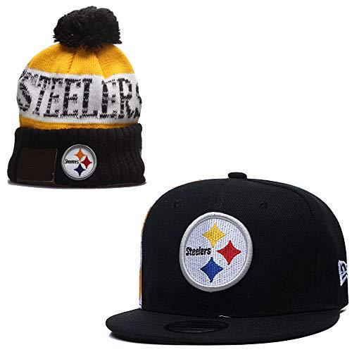 fanwenfeng par de fútbol americano ajustable unisex para adultos, gorra plana y Huset mantener caliente el puño de punto (Pittsburgh Steelers)
