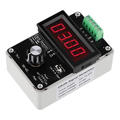4-20mA Generator, DROK Adjustable Signal Generator, DC 0-10V 0 4-20mA Current Voltage Analog Simulator for Value Adjusting PLC Panel LED Testing