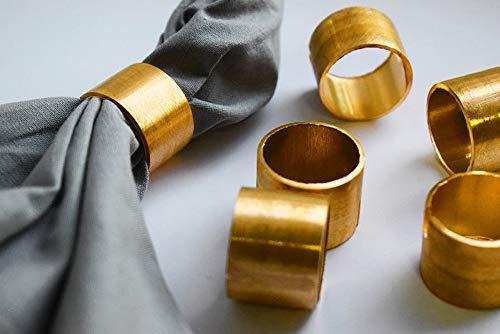 SKAVIJ Napkin Rings Set of 12 for Halloween, Thanksgiving, Christmas, Dinner Parties, Dining Table Decoration Metal Napkin Holder Gold