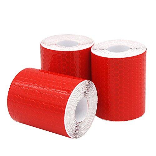 DEHAO Reflektorband 3 Rolle 5cm x 300cm Klebeband für Sicherheit Warnklebeband Sicherheit Markierung Band (Rot)