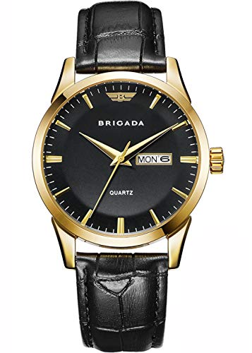 BRIGADA Man's Watches Swiss Brand Classic Gold Black Men's Dress Watch for...