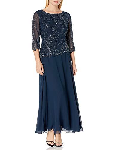 J Kara Women's Petite Floral Beaded Gown, Navy/Luster/Grey, 12P