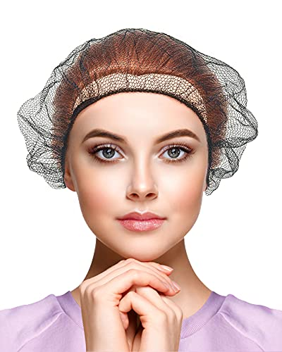 AMZ Disposable Hairnets 18' Pack of 100 Black Nylon Hair Nets Stretchable Head Covers Elastic Hair Nets Food Service Tattoo Elastic Hairnets for Work Сooking Nets Stretchable Hairnets Mesh