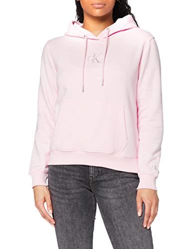 Calvin Klein Jeans Monogram Logo Hoodie Suter, Rosa Perlado/Gris Tranquilo, M para Mujer