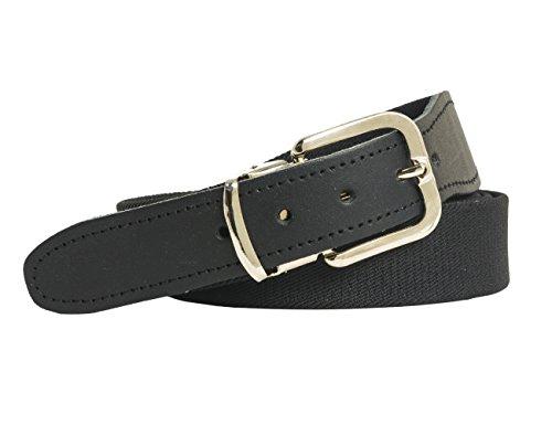 shenky elastischer Stoffgürtel Gummigürtel 3cm Breite Stretchgürtel mit Lederbesatz (130cm, schwarz)