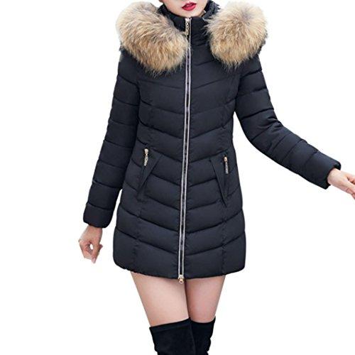 SHOBDW Moda Invierno Mujer Chaqueta Largo Grueso Caliente Abrigo Abrigo Delgado (Negro, EU M=Tamaño L)