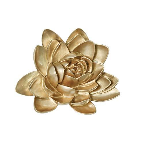 MLADEN Flower Wall Decor 3D Resin Lotus Wall Hanging Decor Art Decor for Home Dedroom Living Room (Gold, S)