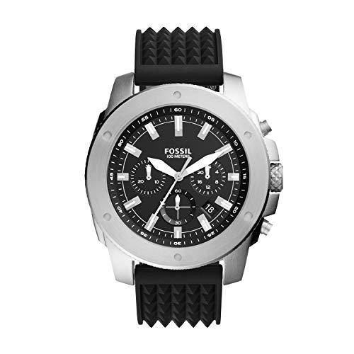 Fossil Relógio masculino cronógrafo de quartzo de aço inoxidável, Mega 50 mm, silicone preto, One Size, Relógio Cronógrafo Mega Machine