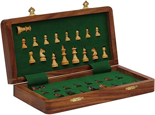 Big Sale - Premium Wood - Craftngifts Limited Stock - Chess Set 12x12 Magnetic Folding Chess Set Board Game with Chessmen Storage - Handmade Deal of The Day Thanksgiving