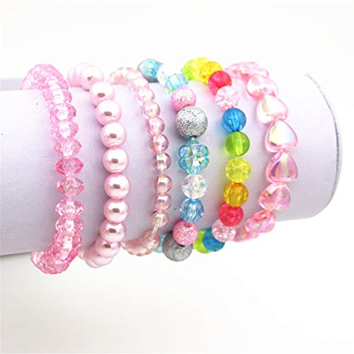 6 Pieces Princess Bracelets,Rainbow Stretchy Bead Bracelets Pink Love Bracelet,Girls Costume Jewelry Set