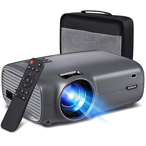 """JEEMAK Proyector, Mini Videoproyector de 6000 Lúmenes con 1080P Full HD, Pantalla de 200 """"y Proyector de Cine en Casa de 60000 Horas Compatible con TV Stick, HDMI, VGA, USB, PS4, iPhone, Android"""