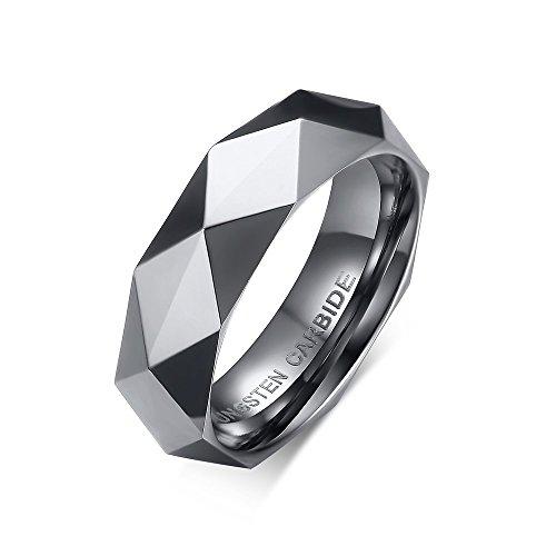 Vnox Carburo di tungsteno Wedding Band sfaccettato Triangolo Taglio Superficiale Anello di Fidanzamento Argento Uomo 6mm,Dimensione 22