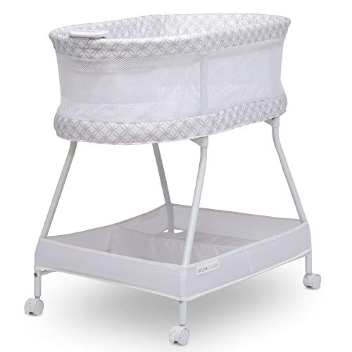Delta Children Sweet Dreams Bassinet with Airflow Mesh Bedside Portable Crib with Vibration Lights and Music, Grey Infinity