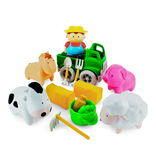 Boley Toddler Farm Animal Toys - 14 Pc Set with Farmer Boy  Toy Truck  Barn Accessories & Farm Animals for Toddlers & Kids Ages 2+