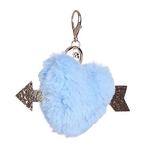 Wimagic 1 llavero de peluche con forma de corazón con pompón, colgante de pompón, para regalo, para mujer, bolso de mano, teléfono o coche 14*12cm azul