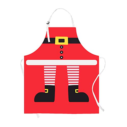 Claswcalor Merry Christmas Kids Apron, Cartoon Santa Apron for Girls Boys, Waterproof Cute Kitchen Apron for Kids Cooking, Baking, Crafting, Gardening, BBQ, Adjustable, Red