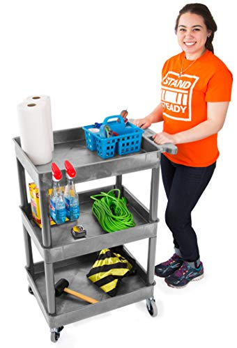 Tubstr Compact 3 Shelf Utility Cart | Heavy Duty Service Cart Supports up to 300 lbs! | Tub Cart with Deep Shelves | Great for Warehouse, Garage, Cleaning & More (3 Shelf/Gray / 24 x 18)