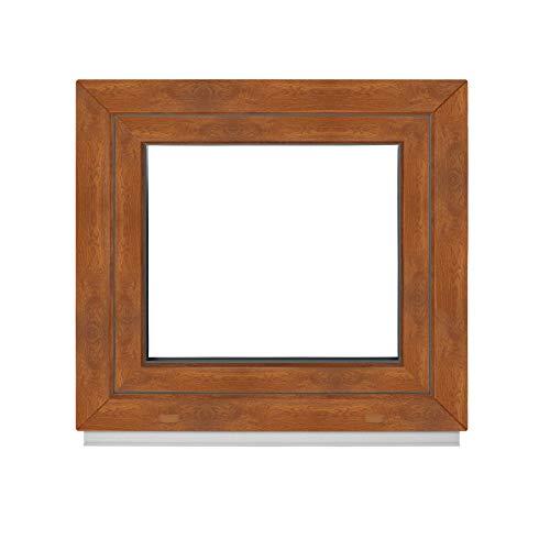 Premium Kunststofffenster Von Komforta - Kellerfenster Weiß/Golden Oak BxH 650 x 850 mm - Garagenfenster/Gartenhaus Fenster BxH 65 x 85 cm 2-fach Verglast - Din Links-Funktion Dreh Kipp Fenster