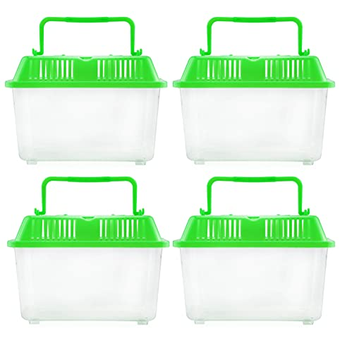 Darware Mini Plastic Terrariums (4-Pack); Tiny Portable Cages for Bug and Reptile Collecting