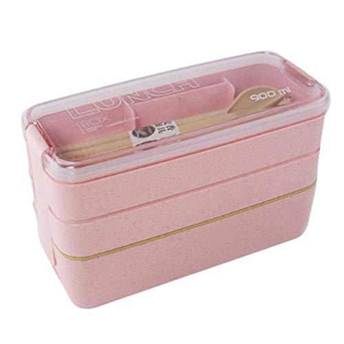Tiyila Gesundes Material Brotdose 3-lagig Weizenstroh Bento-Boxen Mikrowellengeschirr Frischhaltedose Brotdose(RD)