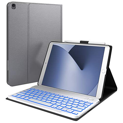 iPad 8th Generation Case with Keyboard, Compatible with iPad 10.2, iPad Air 3, iPad Pro 10.5 - Backlit, Wireless, Smart Keyboard Folio for Apple iPad - iPad 7th Generation Keyboard Case- Space Gray
