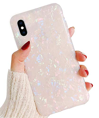 J.west iPhone X Case, Opal iPhone X Case Luxury Sparkle Bling Crystal Clear Soft TPU Silicone Back Cover for Girls Women for Apple 5.8' iPhone X (Colorful)