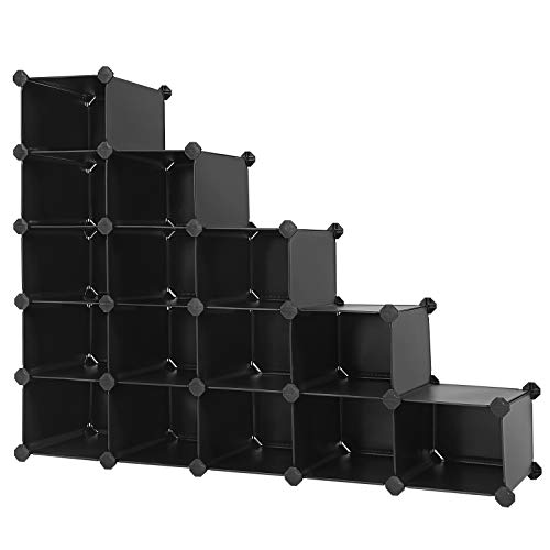 "SONGMICS Shoe Rack, Space Saving 15-Cube Plastic Shoe Storage Organizer Units, Modular Cabinet, Ideal for Entryway Hallway Bathroom Living Room 36.6""L x 14.6""W x 28.7""H Black ULPC44H"