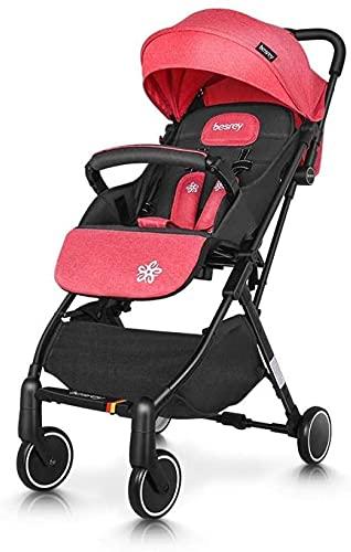 Cochecito de bebé, buggy, cochecito de bebé ligero compacto, cochecito de bebé reclinado, con arnés de seguridad de 5 puntos, canasta de almacenamiento de toldos de barra plegable (Color : Powder)