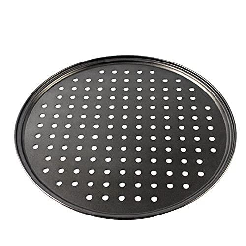 Bandeja de pizza 1pc 12 pulgadas de acero al carbono molde de pizza antiadherente Bandeja para hornear con agujeros transpirables Horno y lavavajillas Pista de pizza segura Tablero de pizza