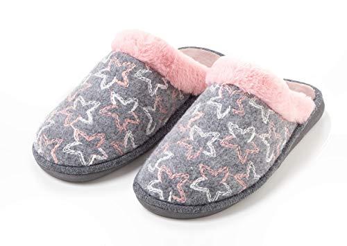 TEX - Zapatillas de Casa para Mujer, Abiertas, Estampadas, Gris, 41