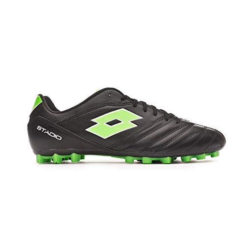 Lotto Stadio 300 II AGM, Bota de fútbol, All Black-Spring Green, Talla 10 US (43 EU)